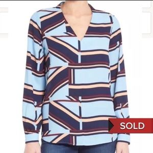 SOLD. 🆕 Pleione High-Low V-neck blouse Size Small